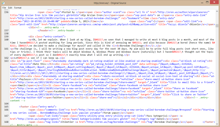 Part of the HTML code of my blog's main page.