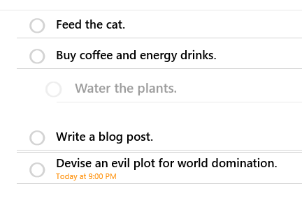 An example reorderable to-do list.